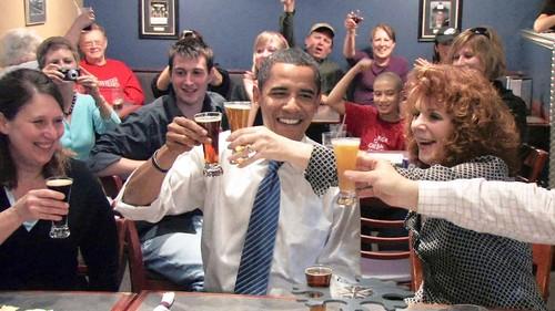 obama toast beer