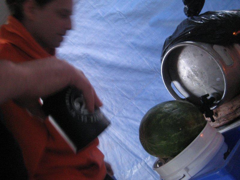 Zambo taps the water melon randall